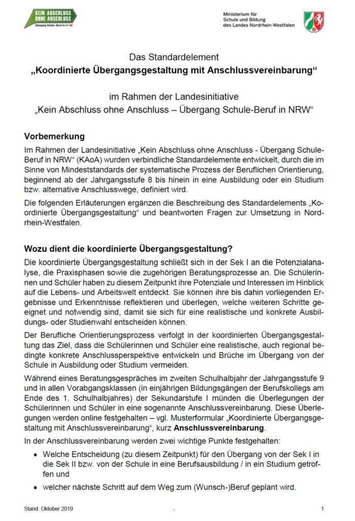 Koordinierte Übergangsgestaltung und Anschlussvereinbarung