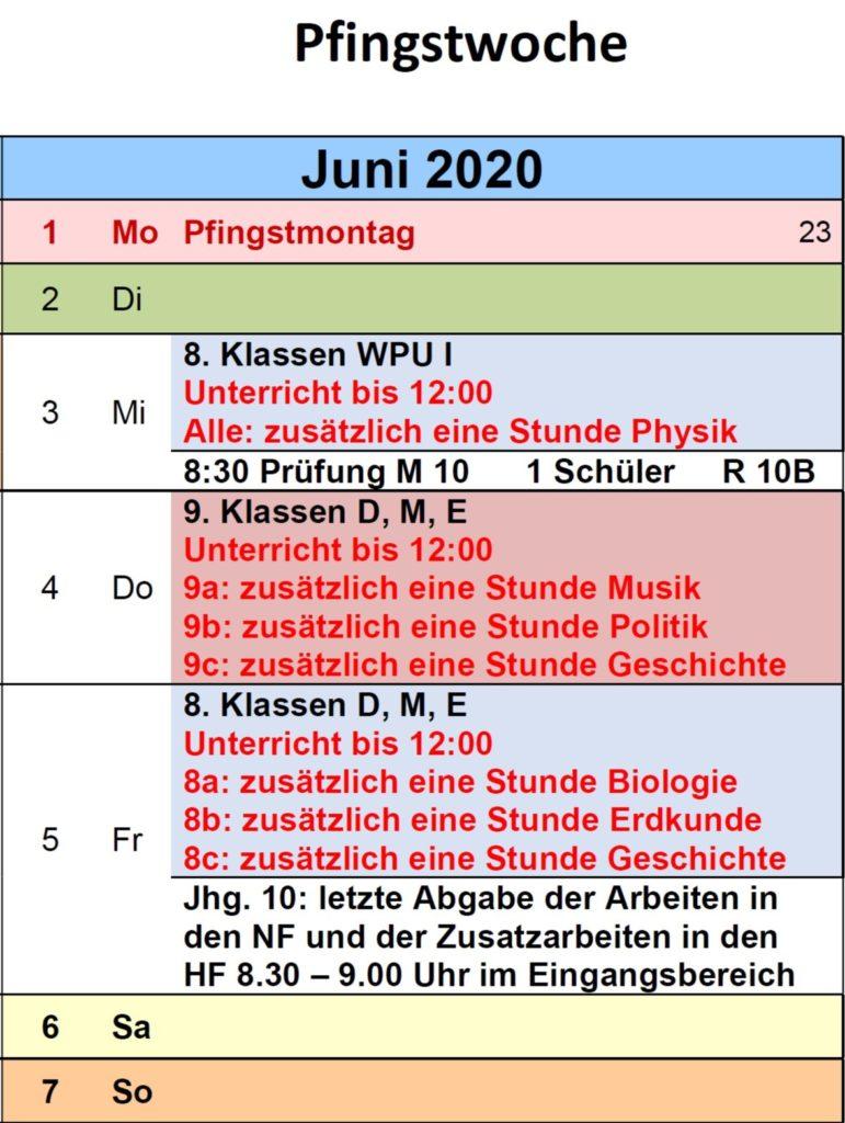 Nach Pfingsten: Neue Unterrichtszeiten bis 12.00 Uhr, weitere Fächer